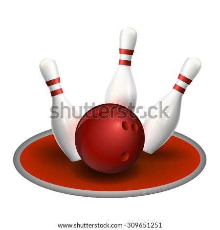 Bowling three pins and red ball. Vector illustration. Strike bowling.