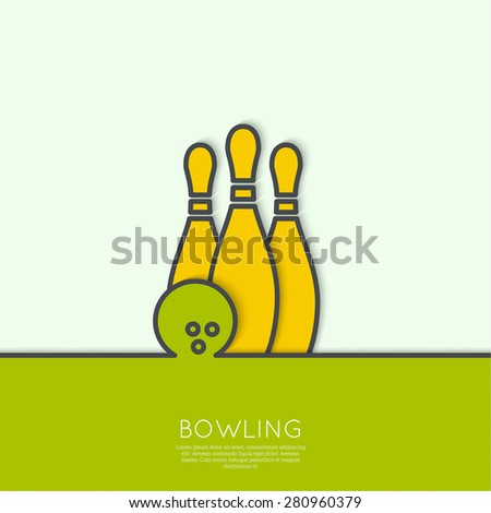 Bowling. Vector abstract background. Pin and ball. The concept of games, entertainment, hobbies and leisure club. green, yellow - stock vector