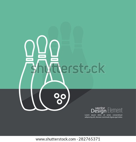 Bowling. Vector abstract background. Pin and ball. The concept of games, entertainment, hobbies and leisure club. Flat design with shadow. Outline - stock vector