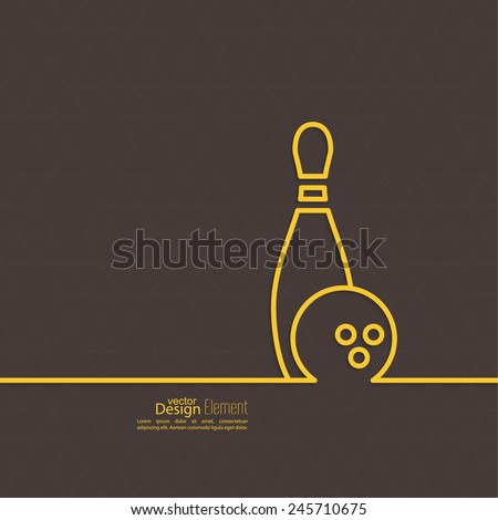Bowling. Vector abstract background with a pattern of triangles. Pin and ball. The concept of games, entertainment, hobbies and leisure club. yellow, brown - stock vector