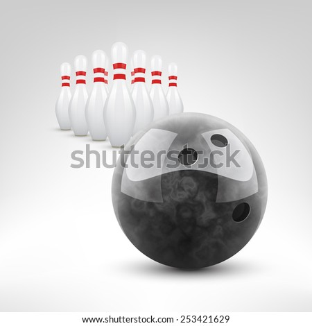 Bowling vector illustration. Black bowling ball and pins isolated. - stock vector