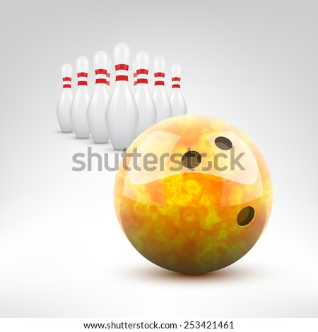 Bowling vector illustration. Orange bowling ball and pins isolated. - stock vector
