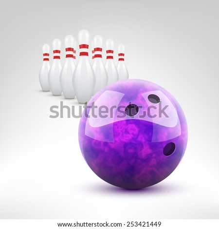Bowling vector illustration. Violet bowling ball and pins isolated. - stock vector