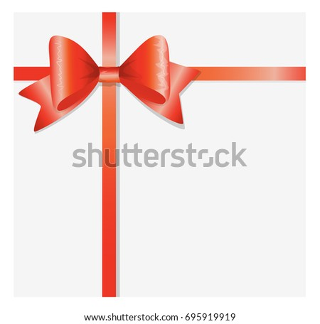 Bows and ribbons on white background. Holiday decoration for cards and gifts.