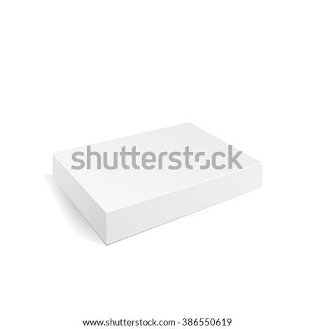 Box blank. Flat box. White box. 3d product. Box mock-up for your design. Box product. Box blank. Box template. Box package. Box brand. Vector illustration, eps 10 - stock vector