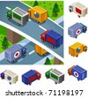 Box Car delivery. vector vehicle set isometric series - stock vector