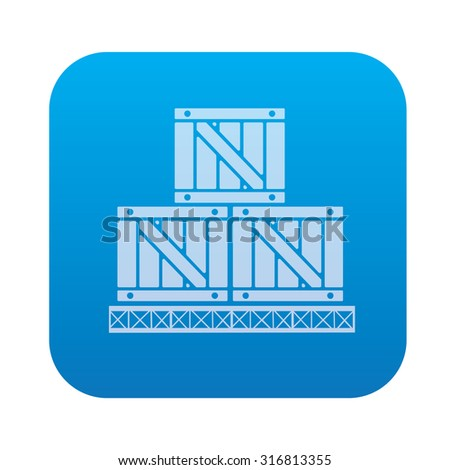 Box,cargo icon on blue background,clean vector - stock vector