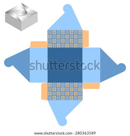 Box design, die-stamping, folding, ready - stock vector