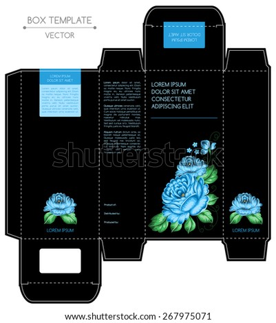 Box design, die-stamping. Vector template. Russian style, zhostovo painting - stock vector