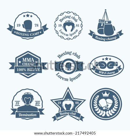 Box fight sport camp club championship emblems grey set isolated vector illustration - stock vector