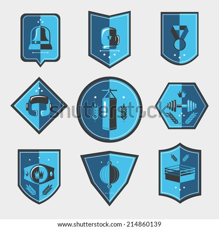 Box fight sport uniform elements emblems set isolated vector illustration. - stock vector