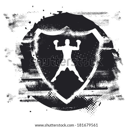 box fighter with stencil shield - stock vector