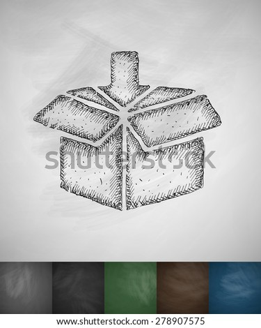box icon. Hand drawn vector illustration. Chalkboard Design - stock vector