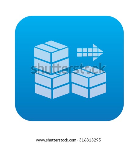 Box icon on blue background,clean vector - stock vector