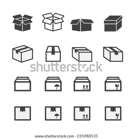 box icon set - stock vector