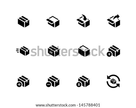 Box Icons on white background. Vector illustration. - stock vector