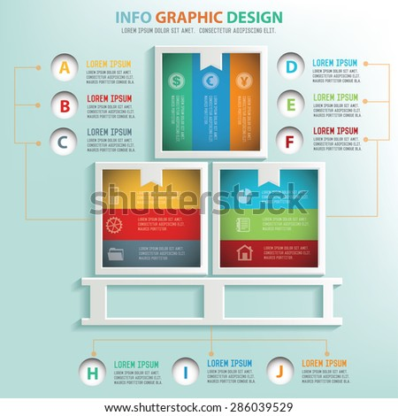 Box info graphic design, Business concept design. Clean vector. - stock vector