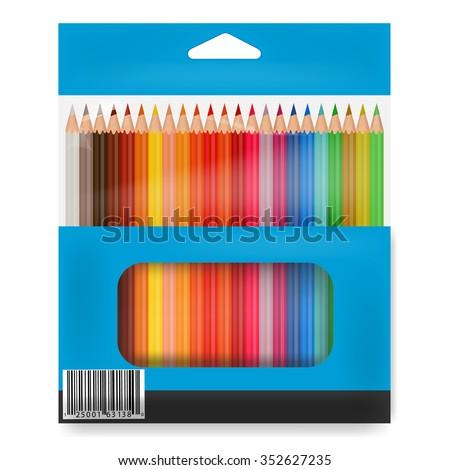 Box o colored pencils - stock vector