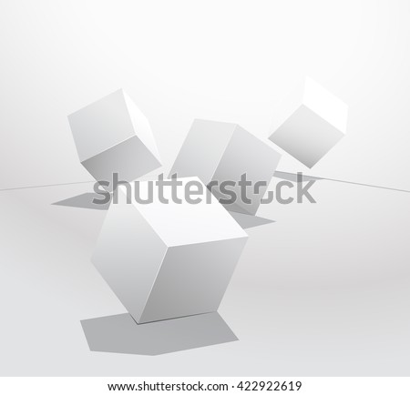 Box on a white background. Rolling dice. Plaster geometric shapes. Leadership concept. Set of white box. Vector illustration. Isolated objects - stock vector