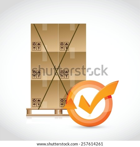 box pallet and check mark cycle illustration design over white - stock vector
