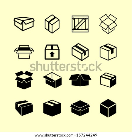 Box pictogram - stock vector