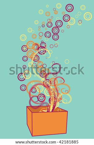 Box, swirls, circles and background are all on separate layers. Easy to change colors or add and subtract. - stock vector
