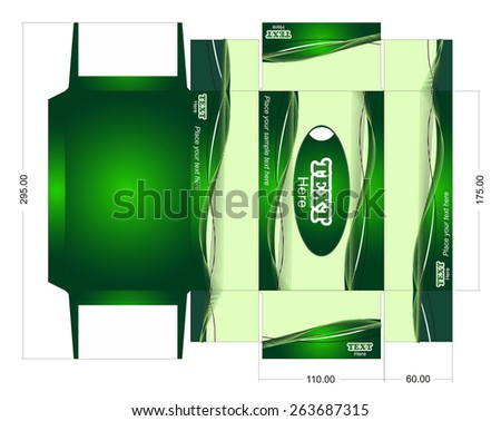 Box template. Vector die box for tissue - stock vector