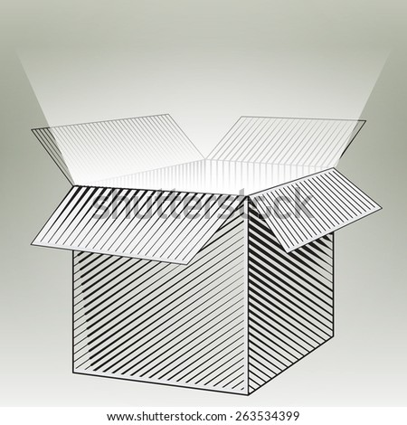 Box. Vector Blank Box. Box packaging. Empty cardboard box opened. Open box. Engraving box. Graphic packing. Open box with the outgoing light. Open glowing box - stock vector