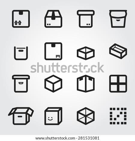 box vector icons - stock vector