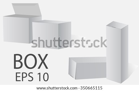 Box. White packing on a light background. Vector Web. - stock vector