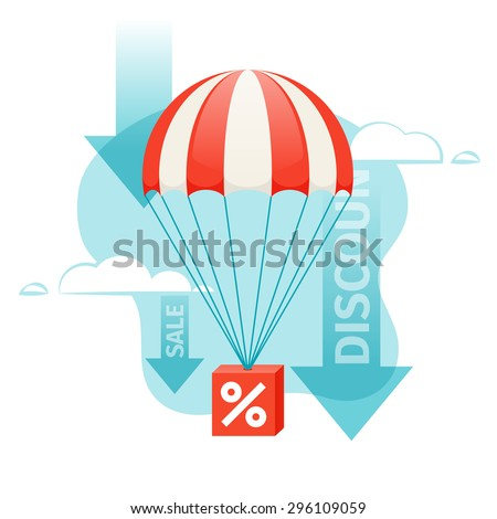 Box with a percent sign descends by parachute. The illustration symbolizes the fall of prices, discounts, promo, sale. - stock vector