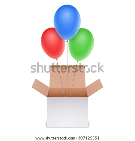 Box with balloons - stock vector
