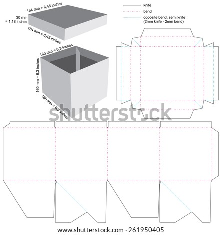Box with cover Blueprint Layout - stock vector