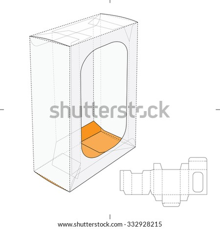 Box with Display Window and Die cut Layout - stock vector