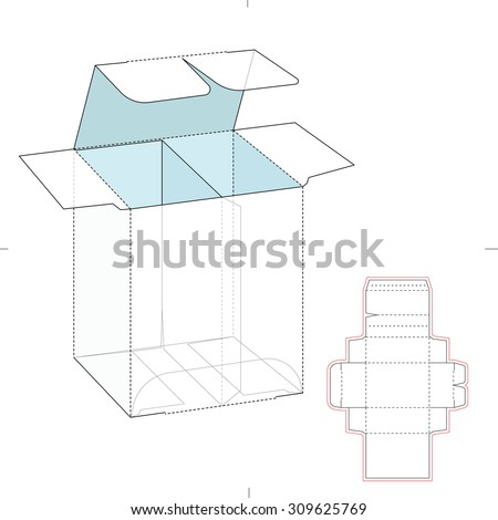 Box with divider container and Die Line Template - stock vector