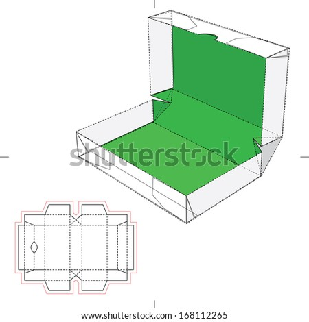 Box with Flop Lid and Blueprint Layout - stock vector