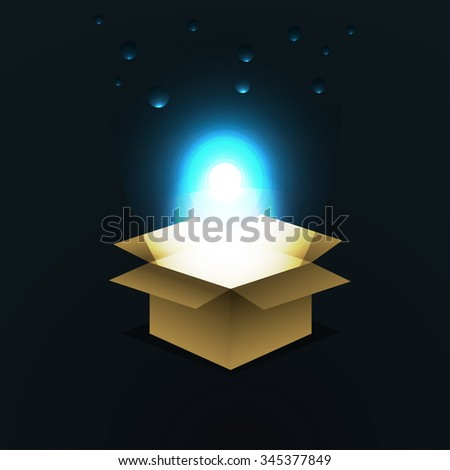 Box with glow and balloons. Vector illustration.