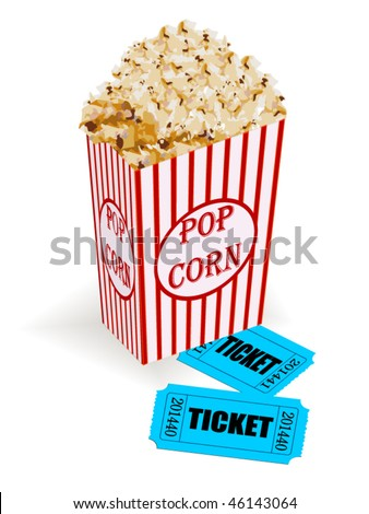 Box with popcorn and movie tickets - stock vector