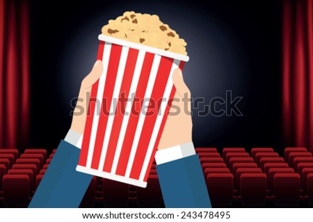 Box with popcorn in hand - stock vector