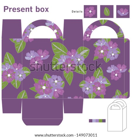 Box with purple flowers  - stock vector