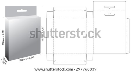 Box with Shelf Hanging Holes and Die cut Layout - stock vector