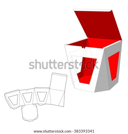 Box with windows Die Cut Template. Packing box For Food, Gift Or Other Products. On White Background Isolated. Ready For Your Design. Product Packing Vector EPS10 - stock vector