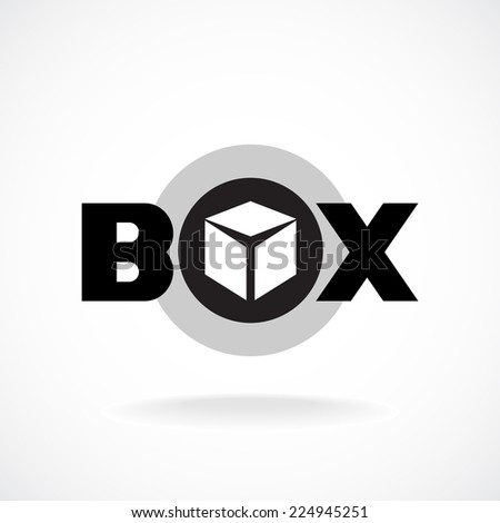 Box word sign with simple image of a box. - stock vector