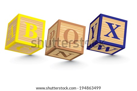 BOX written with alphabet blocks - vector illustration - stock vector