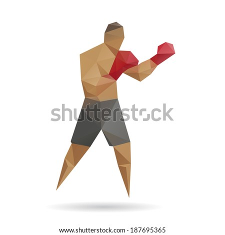 Boxer abstract isolated on a white background, vector illustration - stock vector