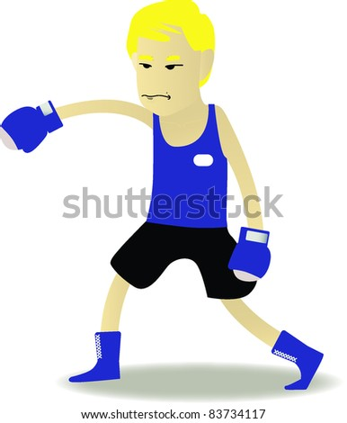 boxer cartoon in blue corner set - stock vector