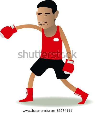 boxer cartoon in red corner set - stock vector