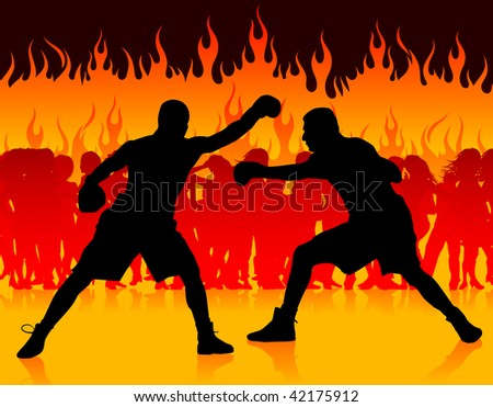 boxer championship on fire background