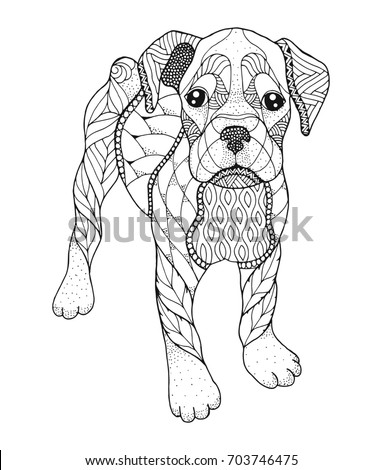 Boxer in pencil coloring coloring pages for Boxer puppy coloring pages