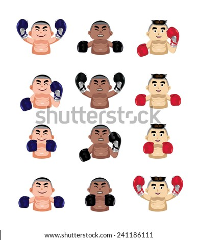 Boxer icons set - stock vector